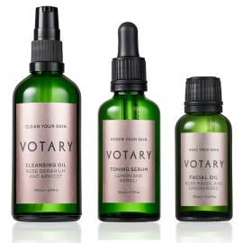 Smooth your skin with Votary 3 step including Rose Maroc and Sandalwood Facial Oil