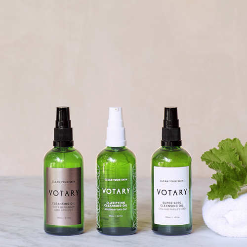 Oil cleanse tutorial - choose between three fabulous Votary cleansers for different skin needs