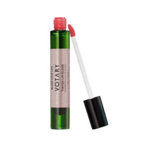 Tinted Lip Gloss with lid off and showing the raspberry blush tint on the applicator